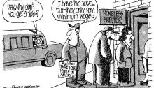 Political cartoon criticizes low minimum wage.  Published in The Columbia Syndicate on April 3, 2014.