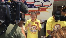 Molly Schuyler, 36, consumed 28 hamburgers at the seventh annual Independence Burger Eating Championship