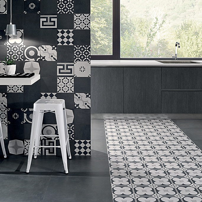 Portugese tegels zwart wit keuken