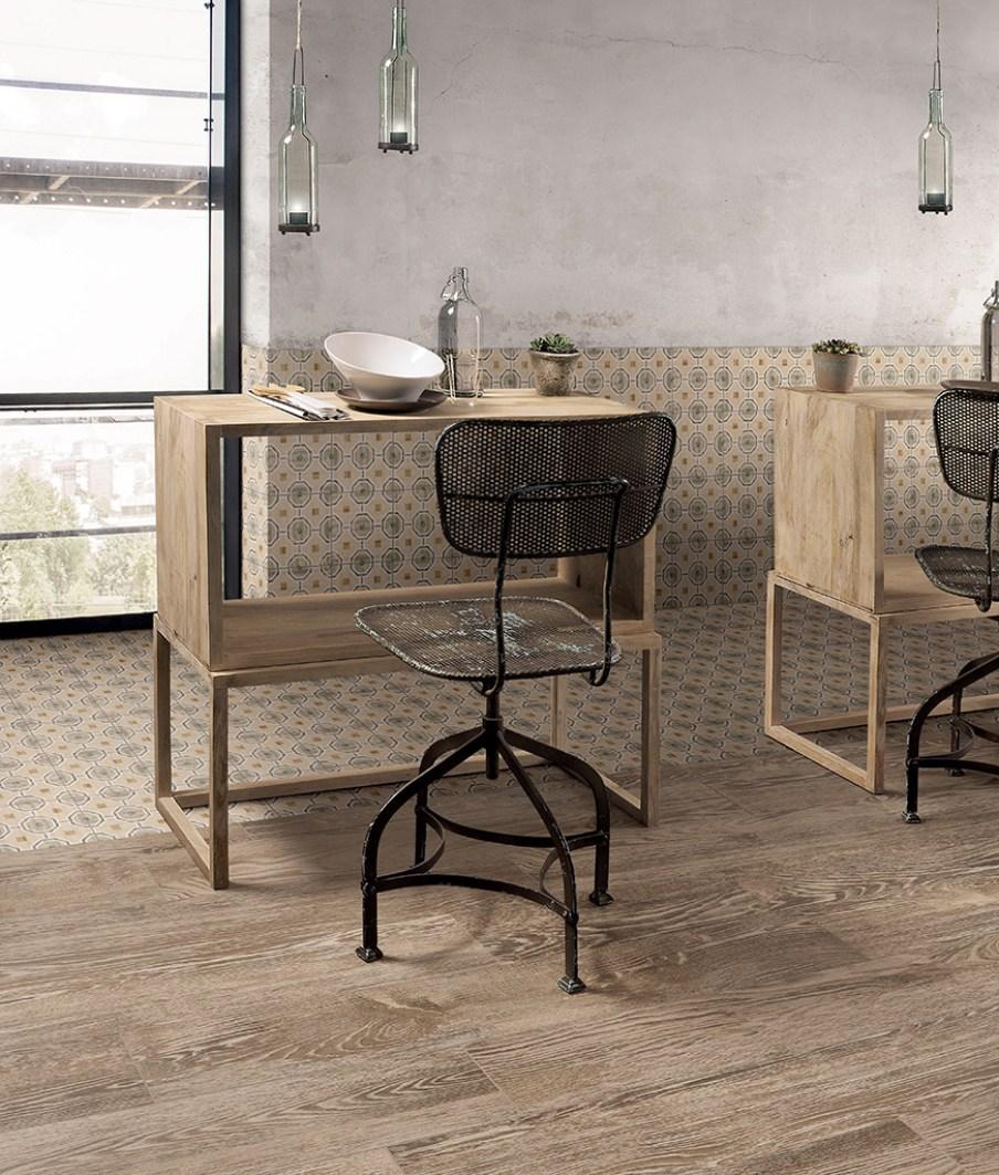 keramische patroontegels met combinatie houtlook