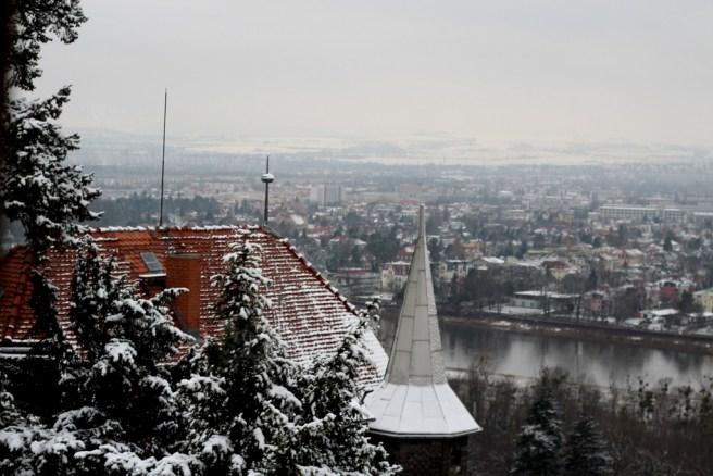 Ausblick ins winterliche Dresden