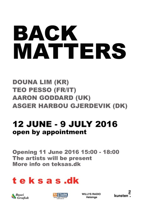 Back Matters, Workshop And Show, T E K S A S, 12/6-9/7 2012,invite