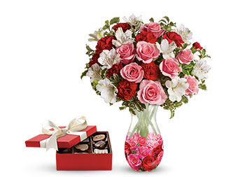 Rosy Posy Bouquet with box chocolates