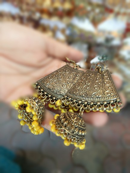 Pair of yellow jhumkas