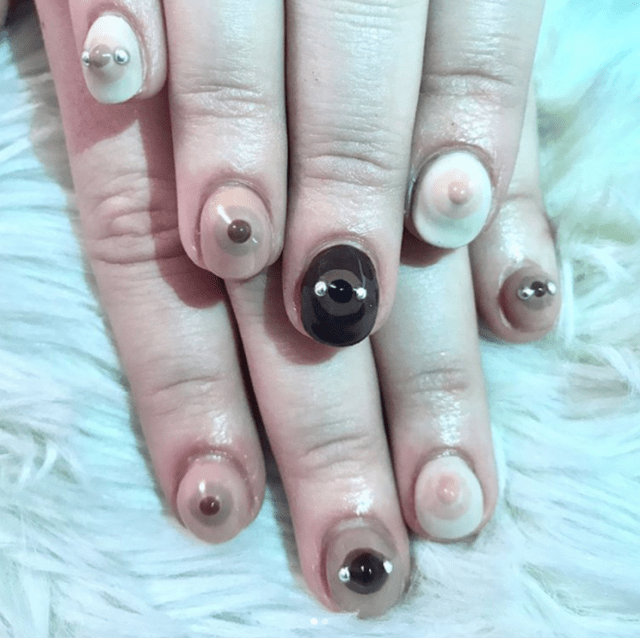 nails, manicure, pedicure, nail art, weird, nipple, boobs