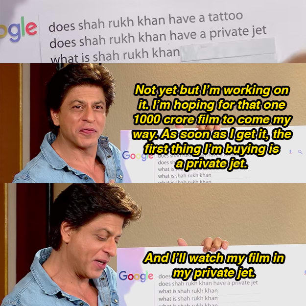 Shah Rukh Khan, answering, googled, questions, King Khan, actor, charming, wit, Rajeev Masand, interview, Jab Harry Met Sejal, amuse, tattoo, private jet, phone number, richest, famous, sing