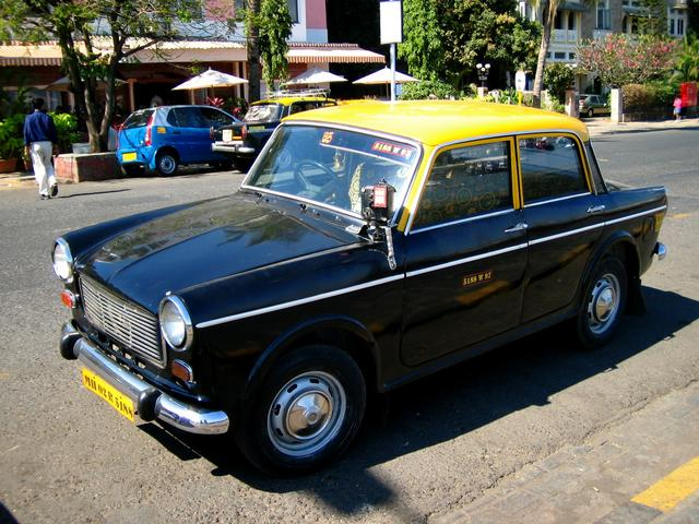 indian taxis, taxi, cab, india, yellow black cab