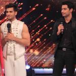 Aliya-Karan and Zain-Shakti on stage interacting with judges