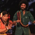 Palak becomes Basanti and dances with her partner (Gabbar)