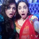Sanaya on the sets of Jhalak with Drashti