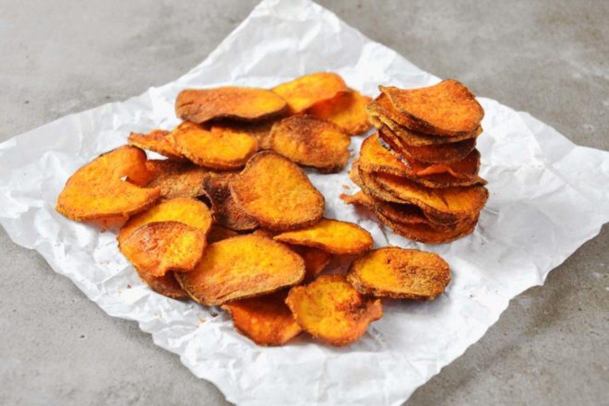 Chips de batata doce assado