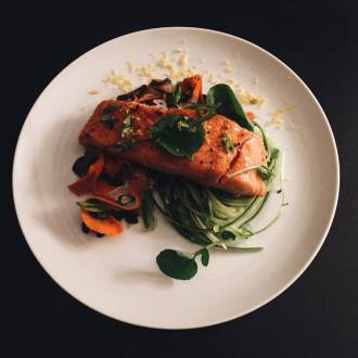 The Primal Gourmet: Asian Inspired Salmon With Cucumber Noodles