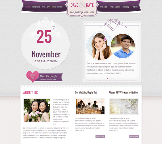 15 of the Best Free & Premium Wedding Website Templates – <br />down