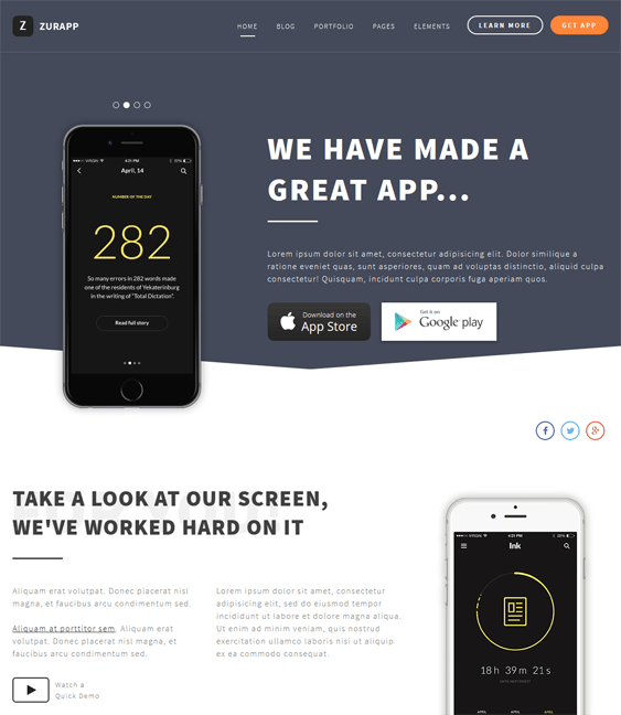 zurapp joomla templates for promoting iphone android apps