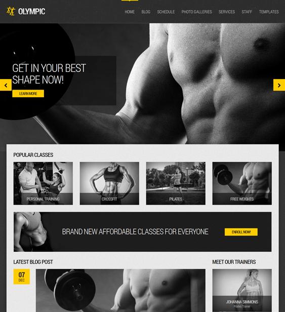 olympic gym fitness wordpress theme