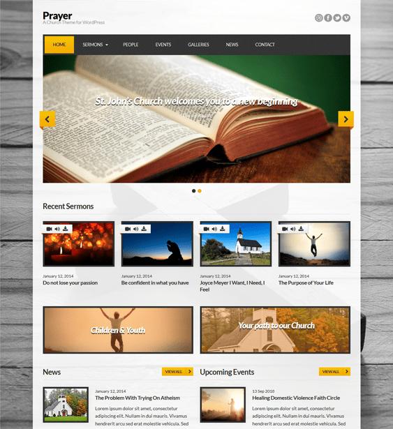 prayer church wordpress theme