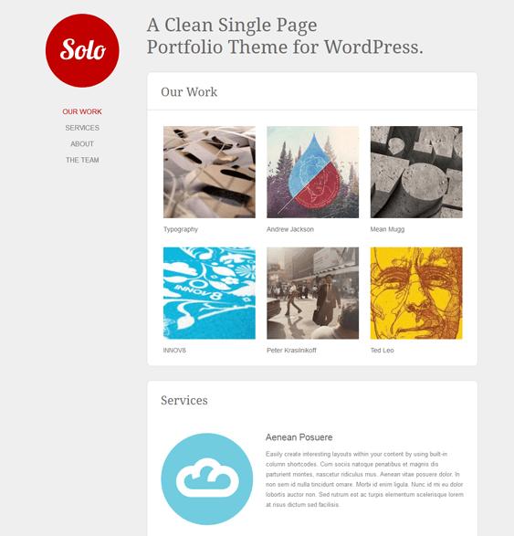 solo one page wordpress theme