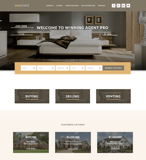 winning agent real estate wordpress theme