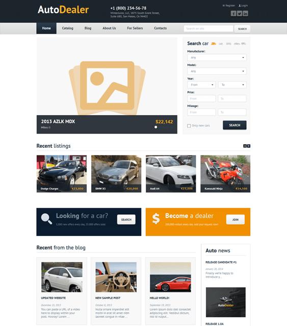 auto dealer car dealership wordpress themes