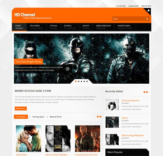 hd channel movie joomla template