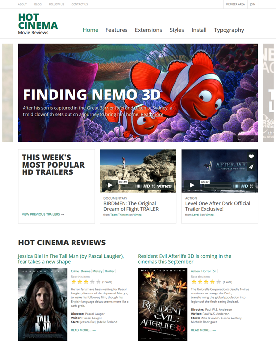 hot cinema review joomla templates