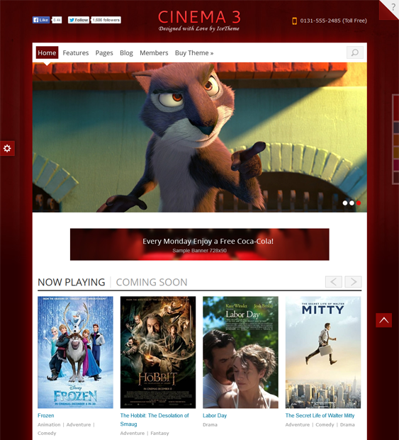it cinema 3 movie joomla template