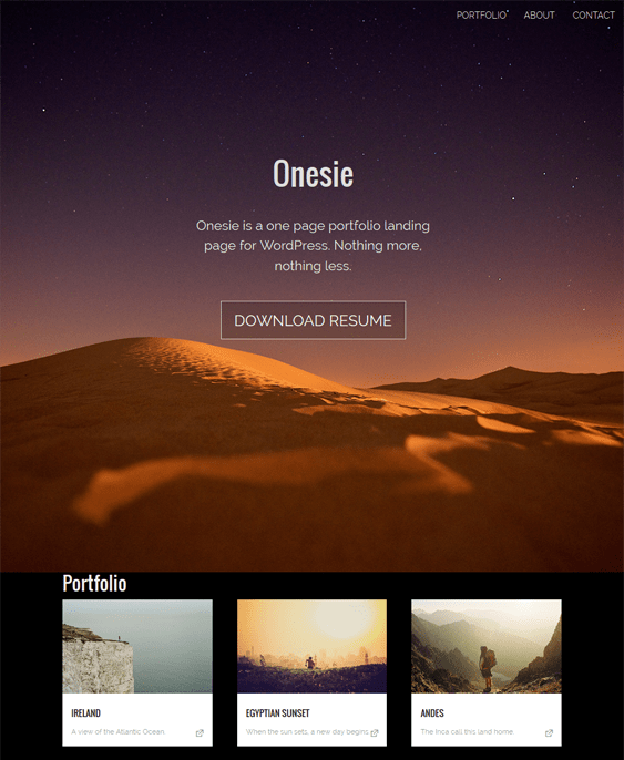 onesie free one page wordpress theme