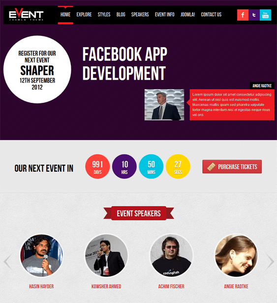 shaper event joomla template