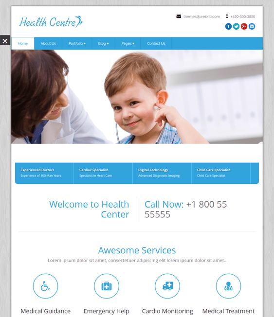 healthcentre health medical wordpress theme