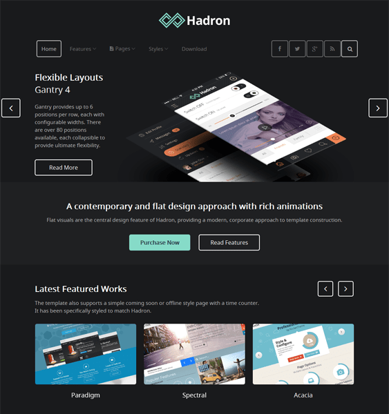 hadron dark wordpress theme