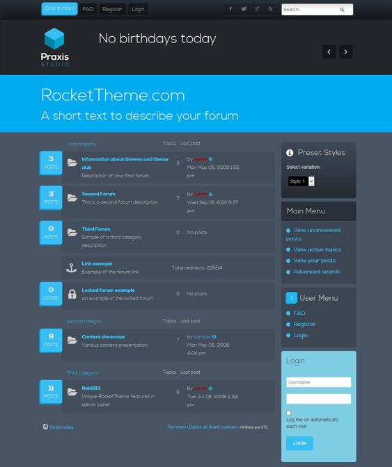 praxis responsive phpbb3 themes