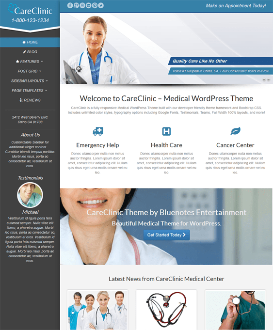 careclinic doctor clinic wordpress theme
