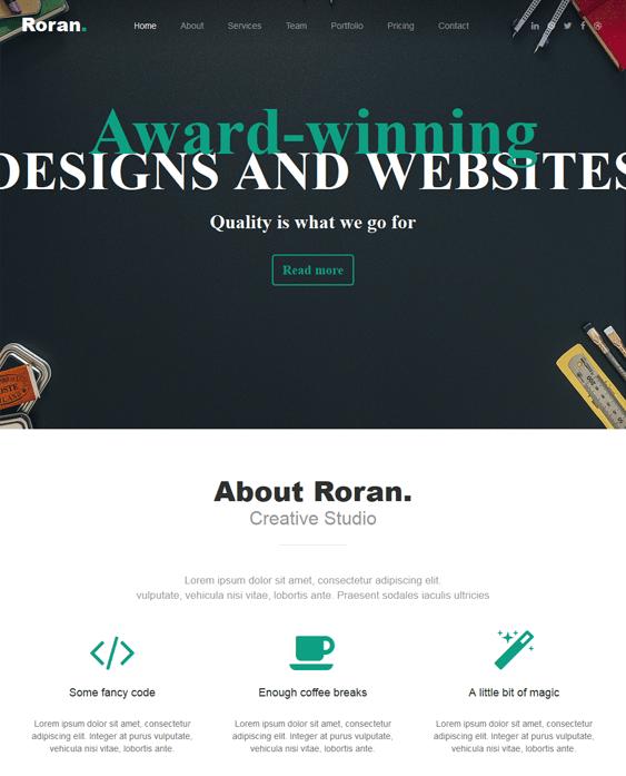 roran one page wordpress theme