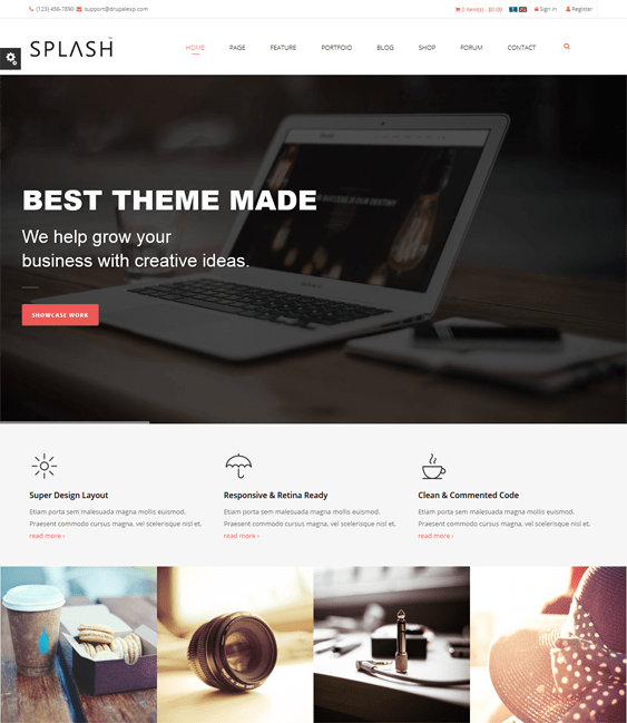 splash parallax drupal theme