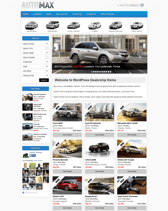 automax car automotive vehicle wordpress theme