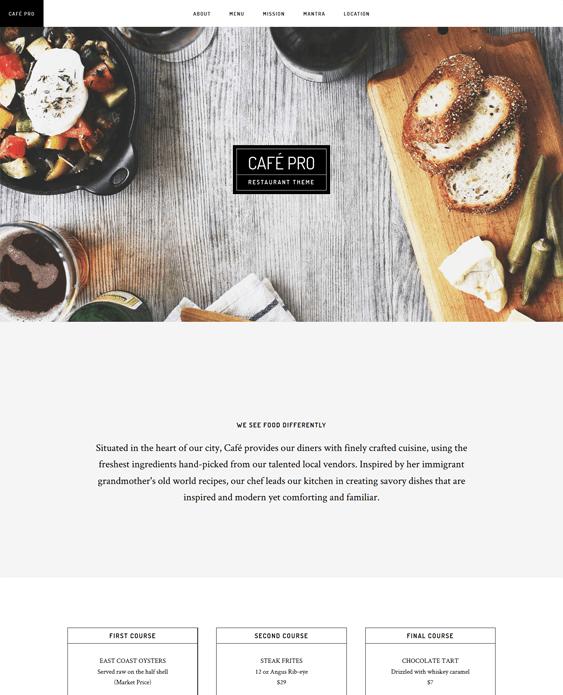 cafe pro parallax wordpress theme