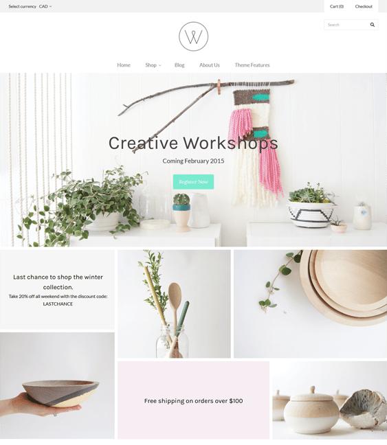 grid minimal shopify theme