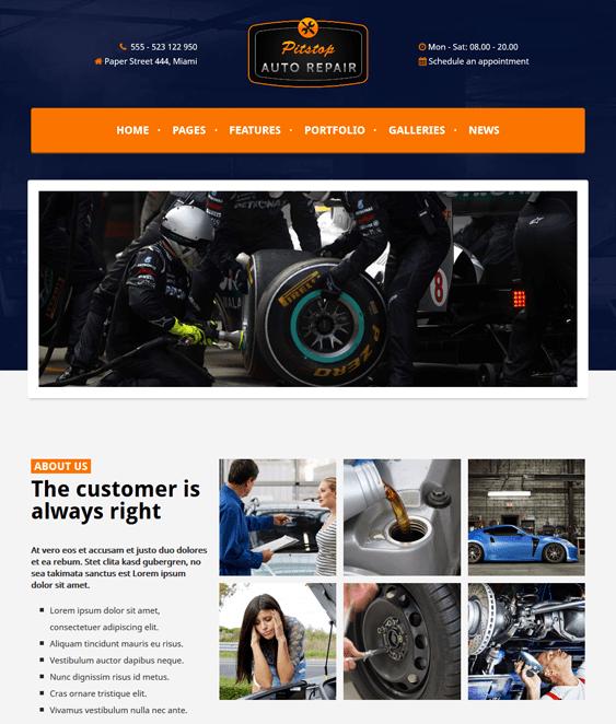pitstop car vehicle automotive wordpress theme