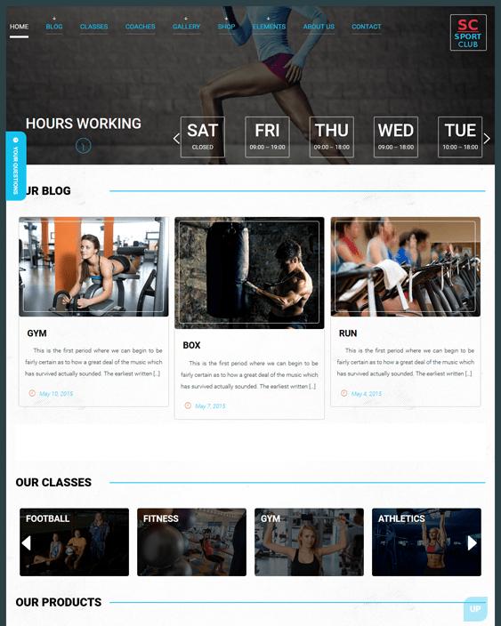 sport club fitness gym wordpress theme
