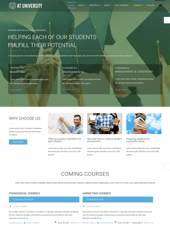 at university education joomla theme