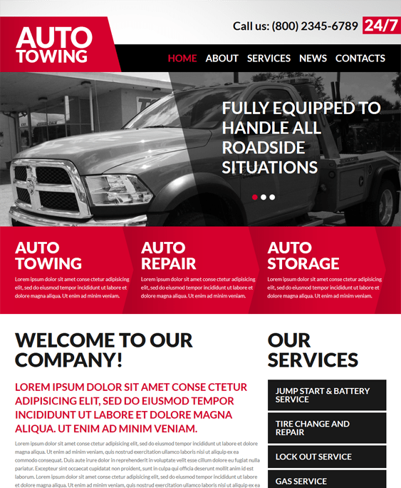 auto towing car vehicle automotive joomla templates