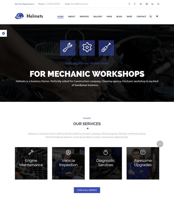 helmets car mechanic repair shop wordpress themes