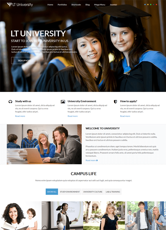 lt university education joomla theme