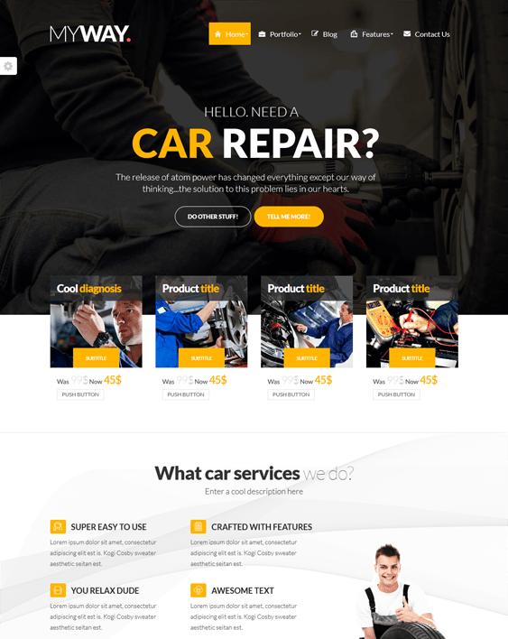 myway car mechanic repair shop wordpress themes