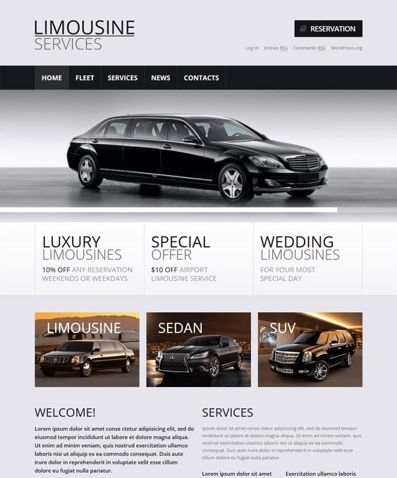 limousine car vehicle automotive wordpress themes