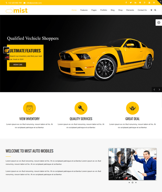 mist car vehicle automotive wordpress themes