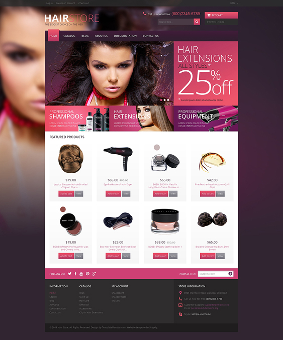 hair salon cosmetics beauty products shopify themes