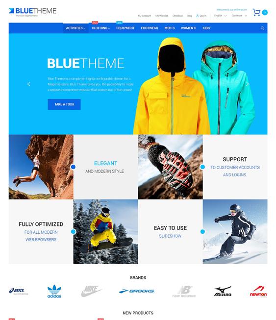 blue sports fitness magento themes