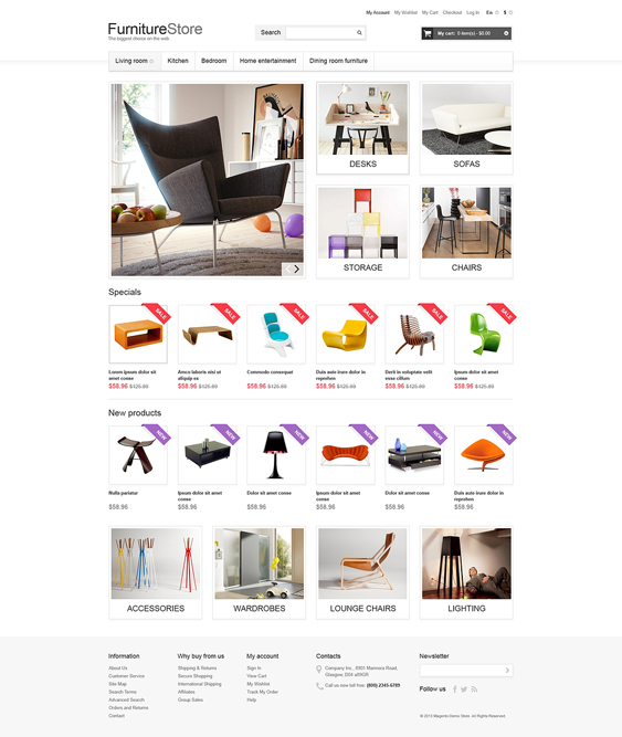 comfortable furniture magento themes