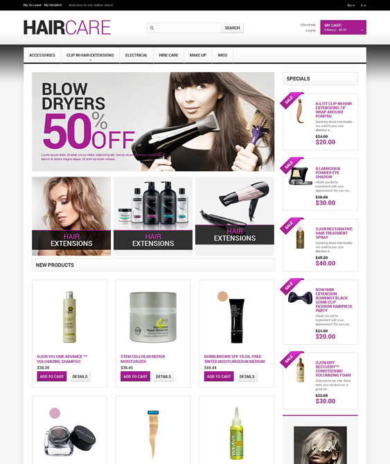 hairdresser hair beauty magento themes
